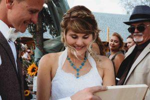 wind blown hair bride and groom windy wedding